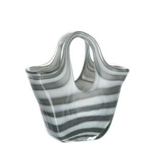 Leonardo Bella üveg táska 23cm szürke csíkos
