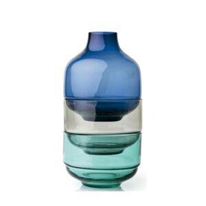 Leonardo Fusione váza-dekortál kombináció 3részes 36cm kék