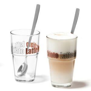 Leonardo Solo pohár szett kanállal 4részes latte macchiatós, barna