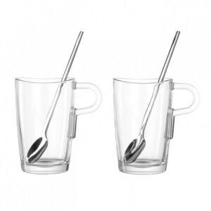 Leonardo Loop pohár szett kanállal 4részes latte macchiatós