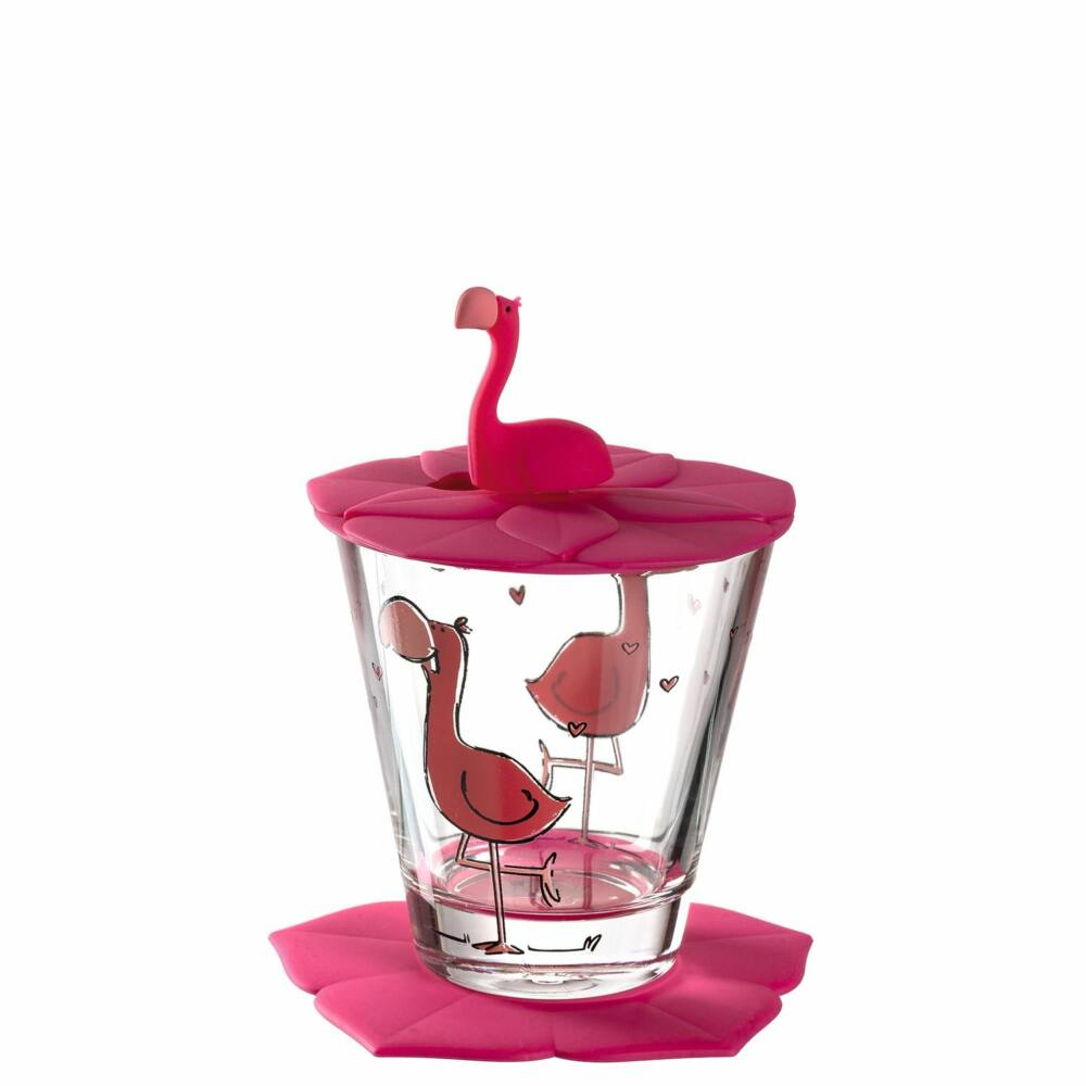 Leonardo Bambini pohár fedővel és alátéttel, Flamingó