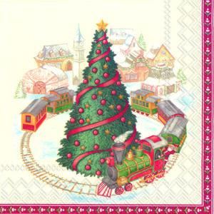 IHR papírszalvéta csomag 33x33cm CHRISTMAS TRAIN IN TOWN