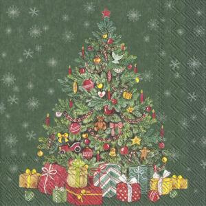 IHR papírszalvéta csomag 33x33cm FESTIVE CHRISTMAS TREE zöld