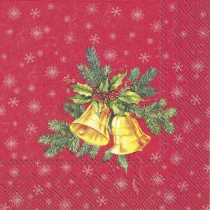 IHR papírszalvéta csomag 33x33cm FESTIVE CHRISTMAS BELLS piros