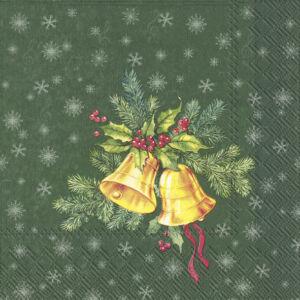 IHR papírszalvéta csomag 33x33cm FESTIVE CHRISTMAS BELLS zöld