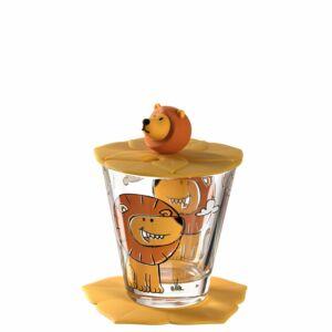 Leonardo Bambini pohár fedővel és alátéttel, Oroszlán